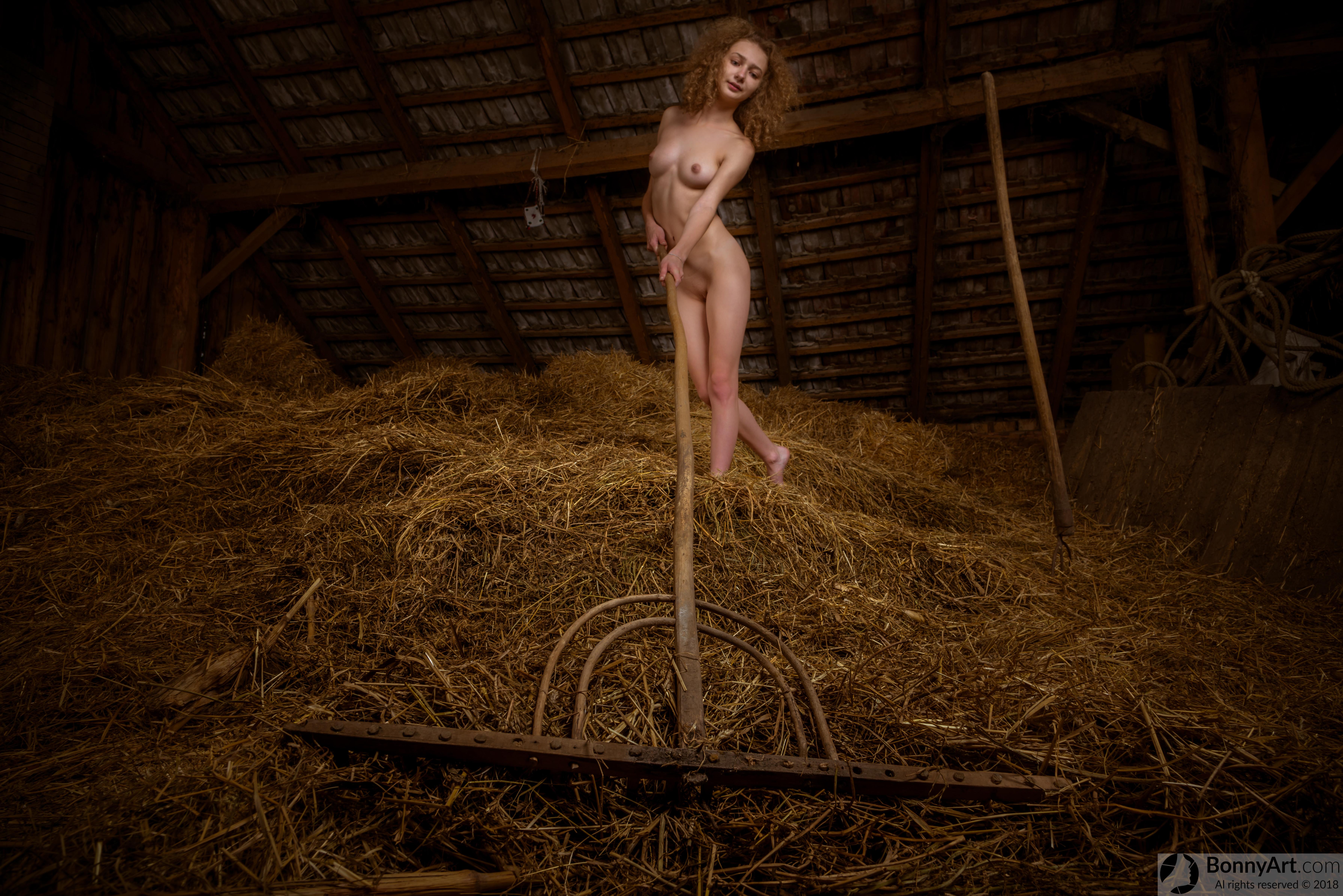 Nude Teen Girl Raking the Hay in the Barn Free Full HD ...