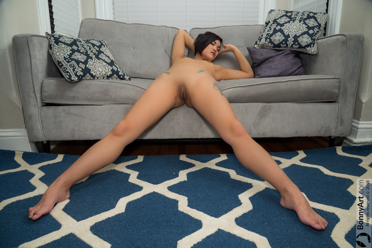 Fully Naked Vietnamese Girl  Stretching Indoors