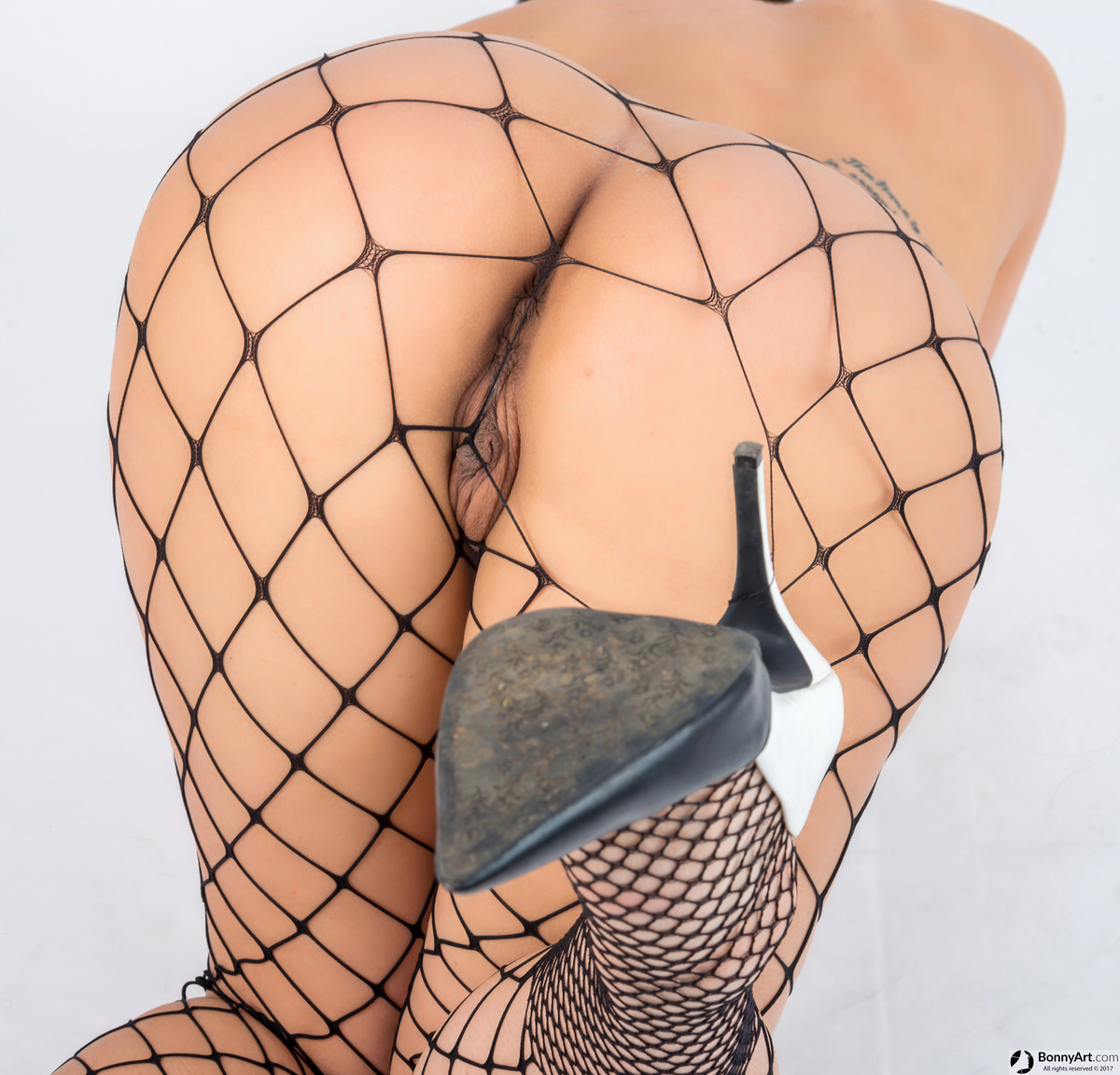 Awesome Naked Large Pussy Bottom with Fishnets