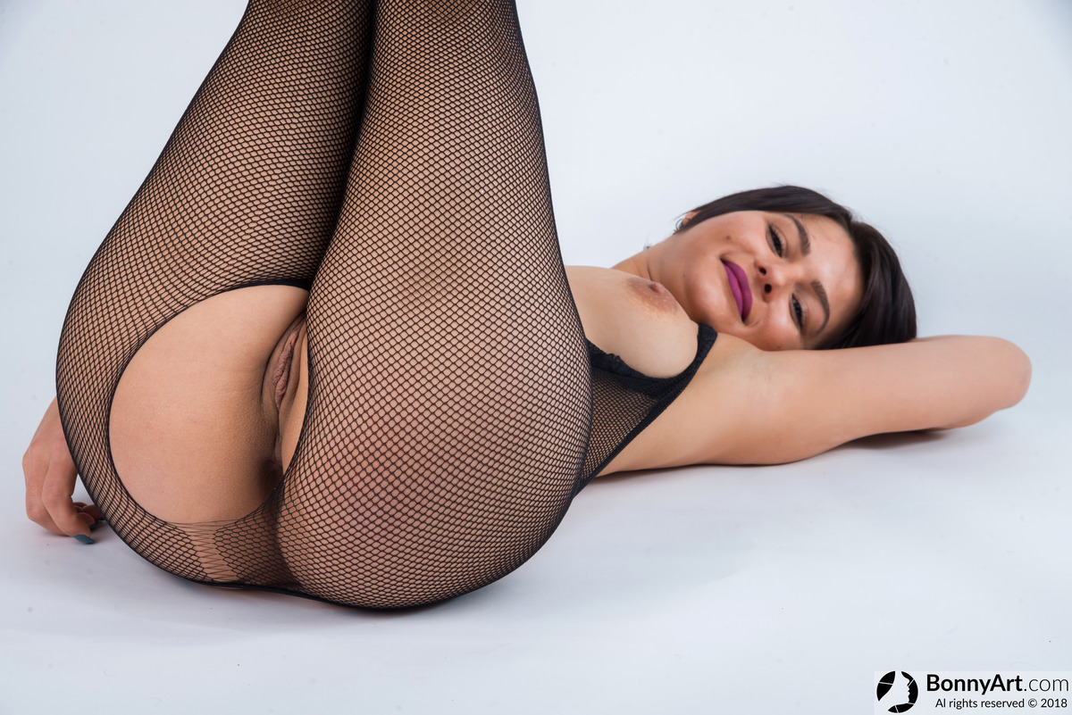 Body Stockings Fishnets Girl showing Pussy and Breast