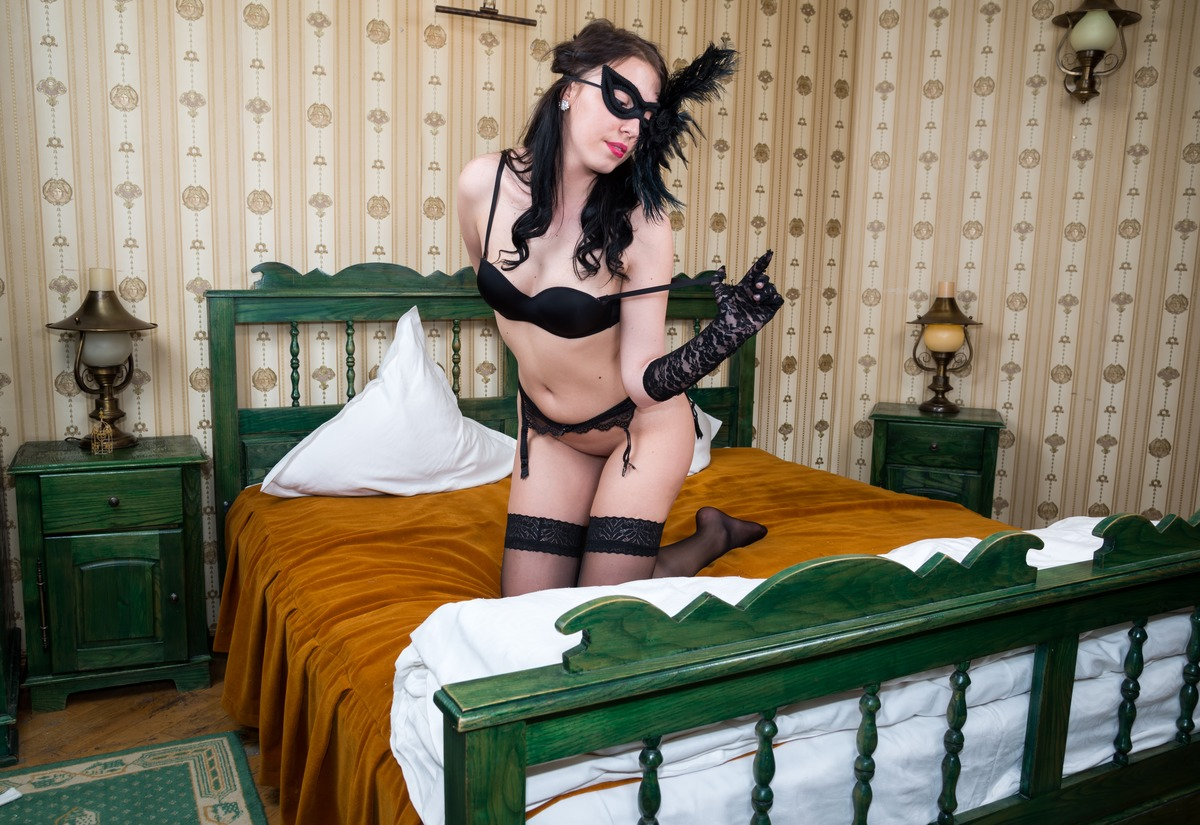 Masked Girl Undressing Sexy Lingerie in Retro Room