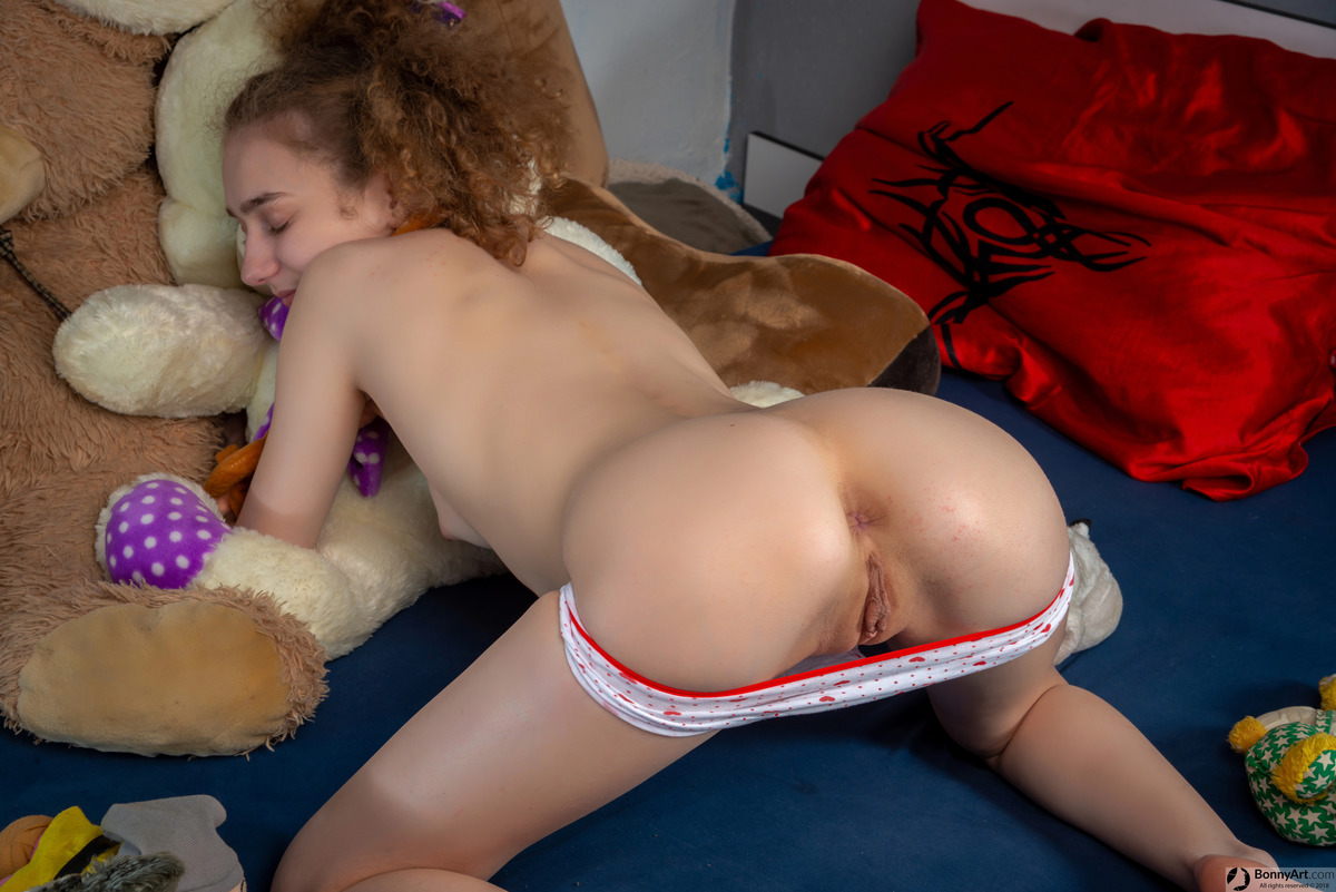 Teen Girl's Exposed Booty & Vulva Playing with Toys