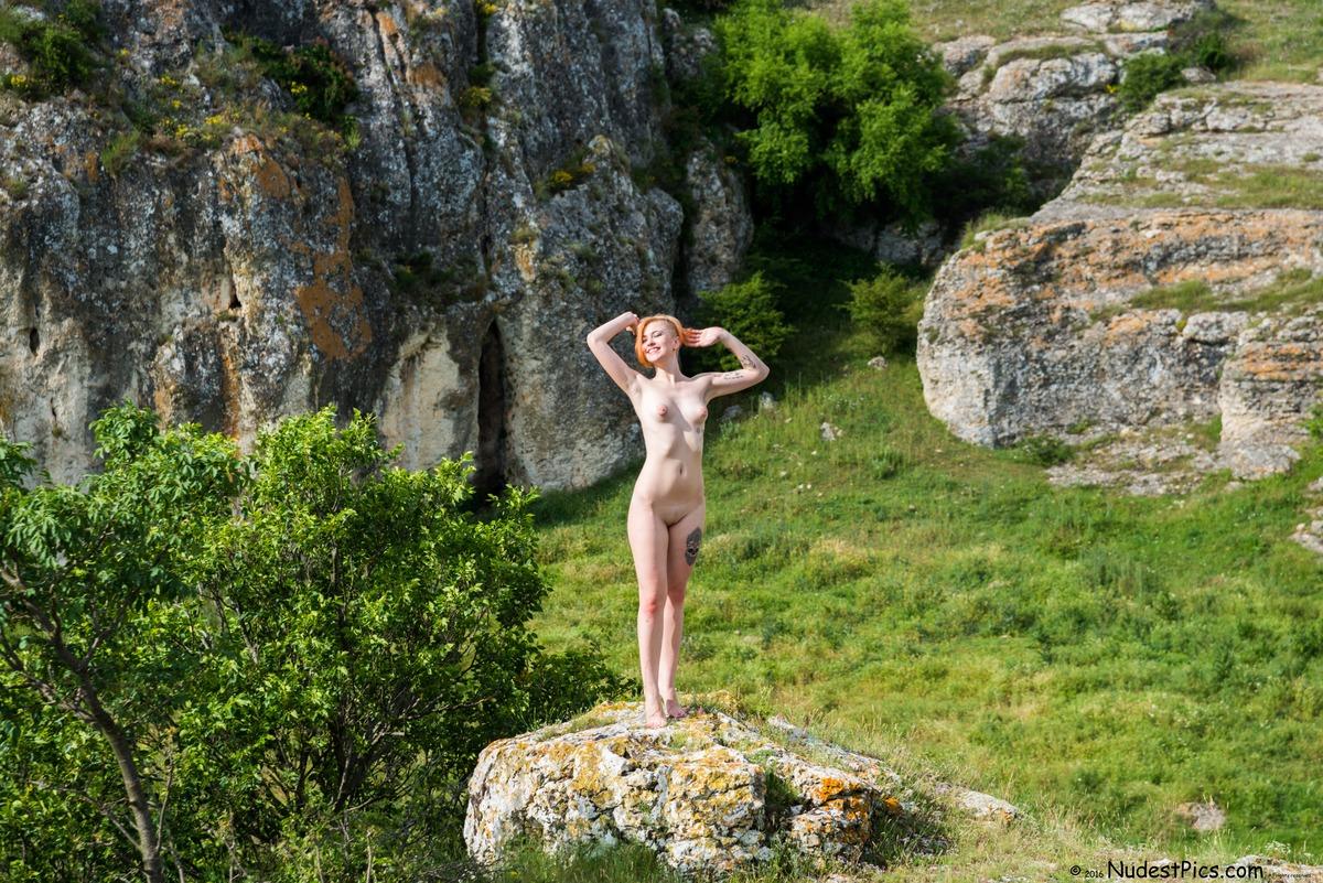 Happy Nudist Girl in Nature