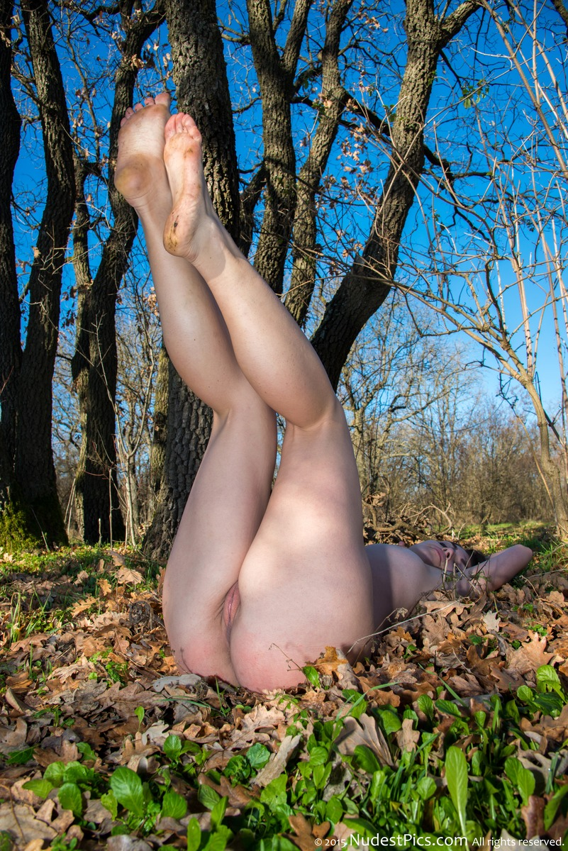 Legs Up Girl Pussy Autumn Forest