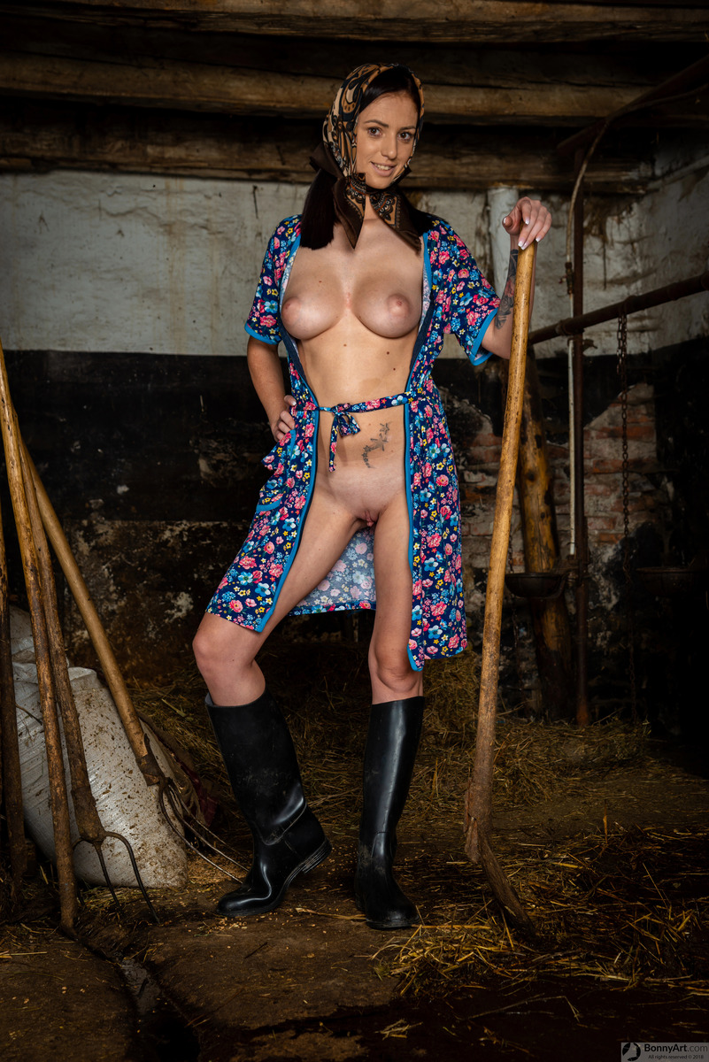 Hot Farmer Woman's Big Tits and Pussy in the Stables