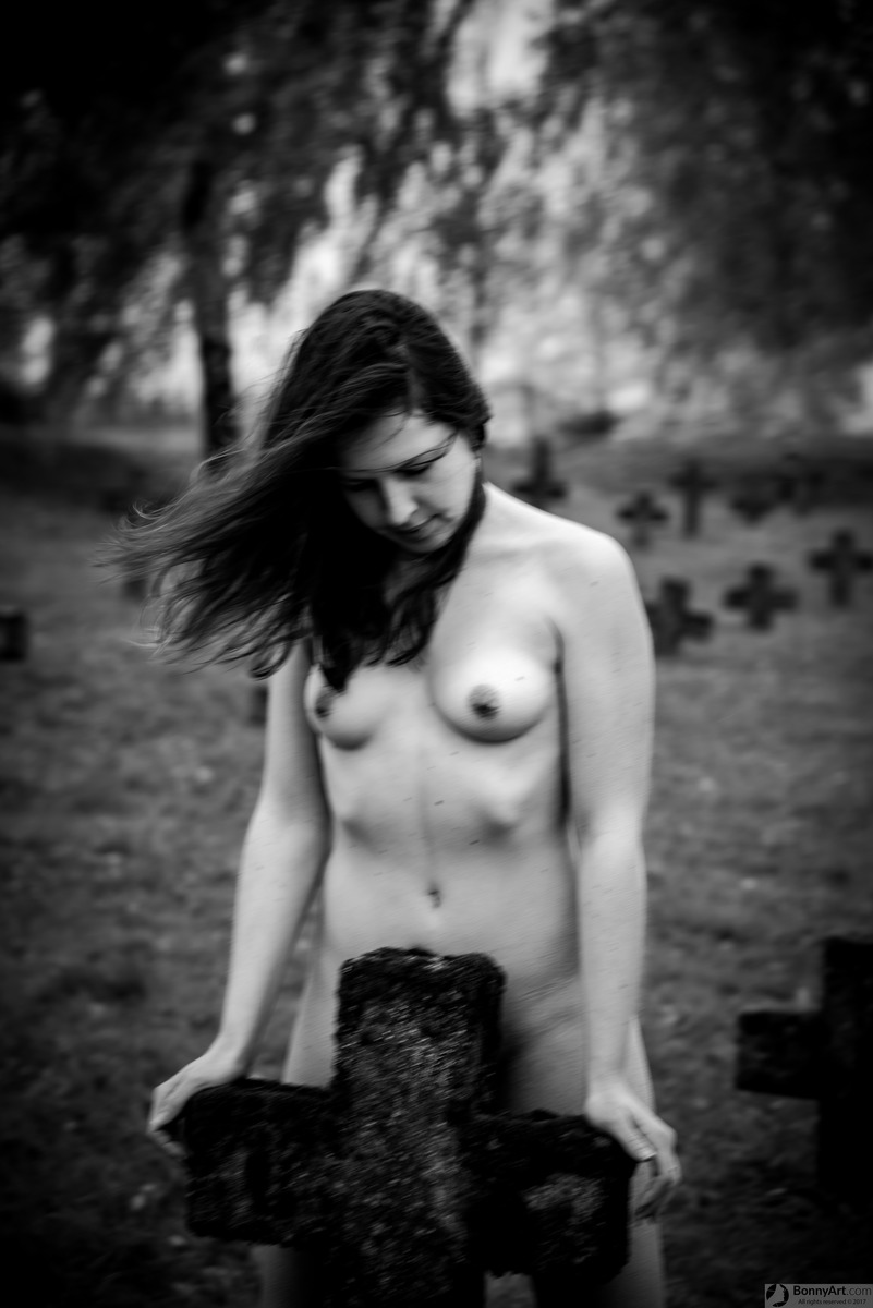 Naked Topless Woman Ghost in the Cemetery